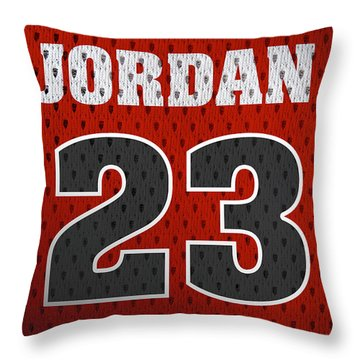 Michael Jordan Chicago Bulls Retro Vintage Jersey Closeup Graphic Design Throw Pillow by Design Turnpike