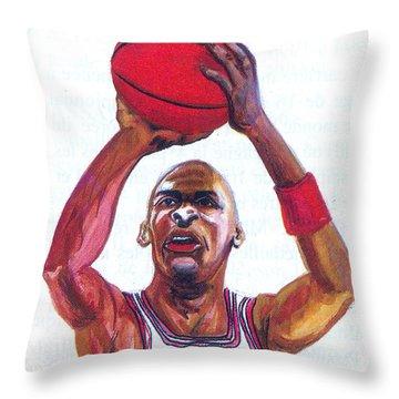 Michael Jordan Throw Pillow by Emmanuel Baliyanga