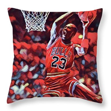 Throw Pillow featuring the painting Michael Jordan Slam Dunk by Dan Sproul