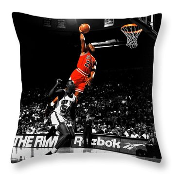 Michael Jordan Suspended In Air Throw Pillow