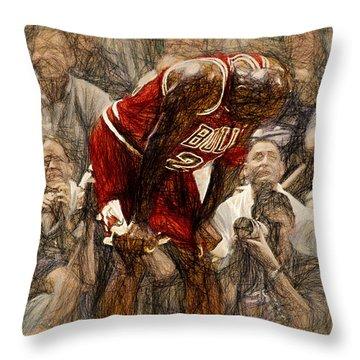 Michael Jordan The Flu Game Throw Pillow