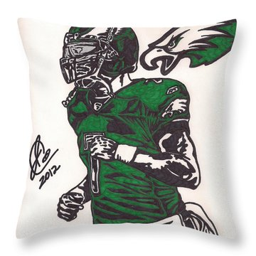 Throw Pillow featuring the drawing Micheal Vick by Jeremiah Colley