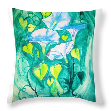 Micheal's Morning Glories Throw Pillow