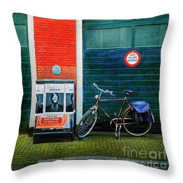 Throw Pillow featuring the photograph Michel De Hey Bicycle by Craig J Satterlee