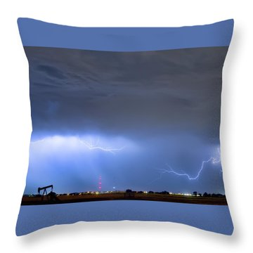 Throw Pillow featuring the photograph Michelangelo Lightning Strikes Oil by James BO Insogna