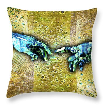 Throw Pillow featuring the mixed media Michelangelo's Creation Of Man by Tony Rubino
