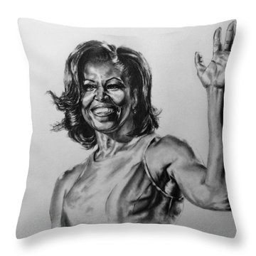 Michelle Obama  Throw Pillow by Darryl Matthews