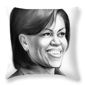 Michelle Obama Throw Pillow by Greg Joens
