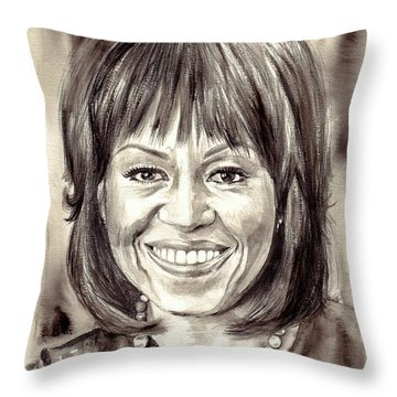 Michelle Obama Watercolor Portrait Throw Pillow