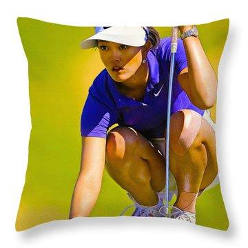 Michelle Wie Lines Up Her Putt  Throw Pillow