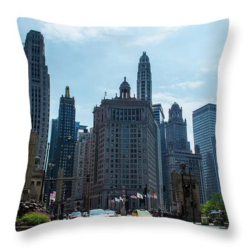 Throw Pillow featuring the photograph Michigan Avenue Bridge And Skyline Chicago by Deborah Smolinske