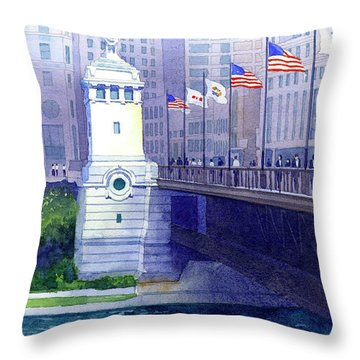 Michigan Avenue Bridge Throw Pillow