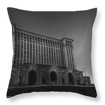 Michigan Central Station At Midnight Throw Pillow by Gordon Dean II