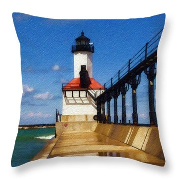 Michigan City Light 1 Throw Pillow