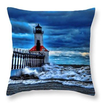 Michigan City Lighthouse Throw Pillow