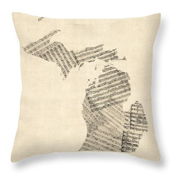 Michigan Map, Old Sheet Music Map Throw Pillow