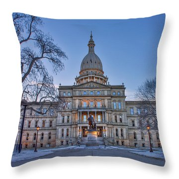 Throw Pillow featuring the photograph Michigan State Capitol by Nicholas Grunas