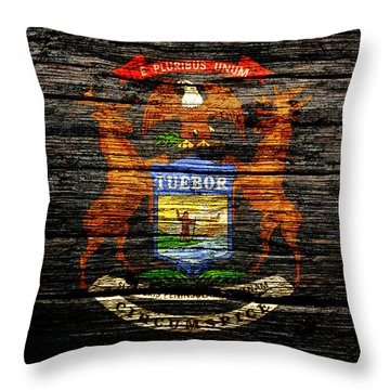 Michigan State Flag 1a Throw Pillow