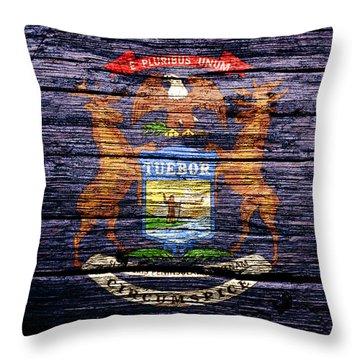Michigan State Flag 1b Throw Pillow
