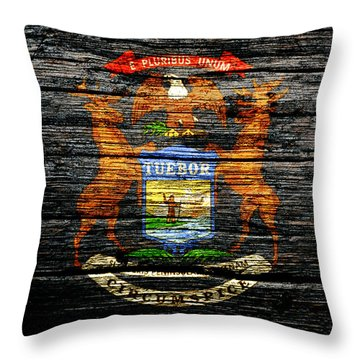 Michigan State Flag 1c Throw Pillow