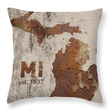 Michigan State Map Industrial Rusted Metal On Cement Wall With Founding Date Series 005 Throw Pillow by Design Turnpike
