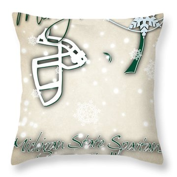 Michigan State Spartans Christmas Card 2 Throw Pillow by Joe Hamilton