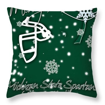 Michigan State Spartans Christmas Card Throw Pillow by Joe Hamilton