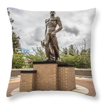 Michigan State - The Spartan Statue Throw Pillow by John McGraw