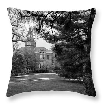 Michigan State University Campus Black And White  Throw Pillow