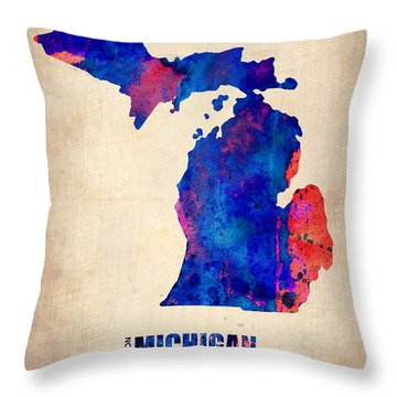 Michigan Watercolor Map Throw Pillow by Naxart Studio