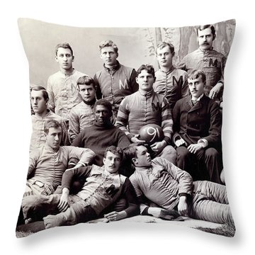 Michigan Wolverine Football Heritage 1890 Throw Pillow by Daniel Hagerman
