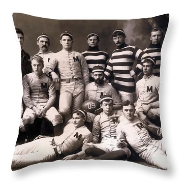 Michigan Wolverines Football Heritage 1888 Throw Pillow by Daniel Hagerman
