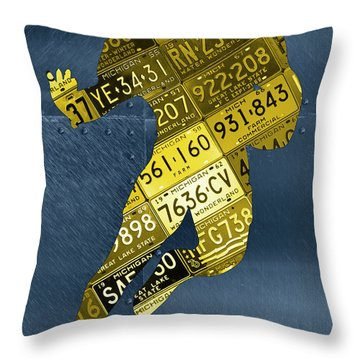 Michigan Wolverines Running Back Recycled License Plate Art Throw Pillow By Design Turnpike