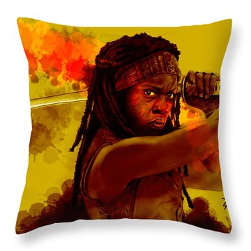Michonne Throw Pillow by David Kraig