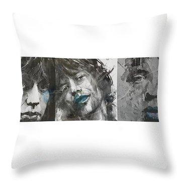 Mick Jagger Triptych Throw Pillow