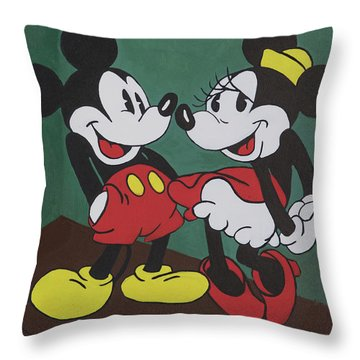 Mickey And Minnie Throw Pillow