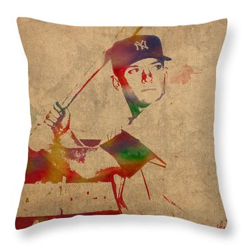 Mickey Mantle New York Yankees Baseball Player Watercolor Portrait On Distressed Worn Canvas Throw Pillow
