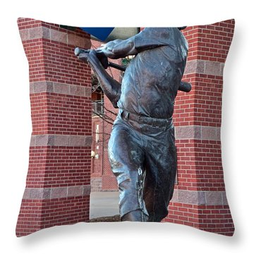 Mickey Mantle Plaza Throw Pillow by Frozen in Time Fine Art Photography
