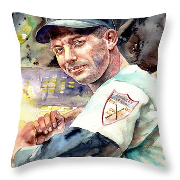 Mickey Mantle Watercolor Throw Pillow