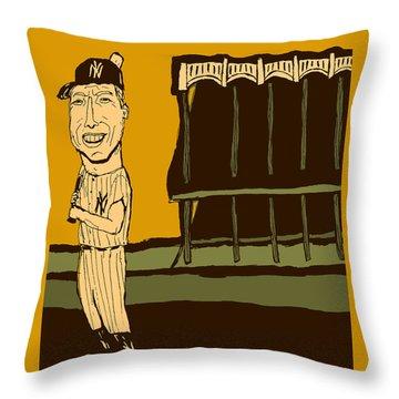 Mickey Mantle Yankee Stadium Throw Pillow by Jay Perkins