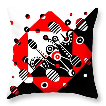Microgravity - Red And Black Throw Pillow by Deyana Deco