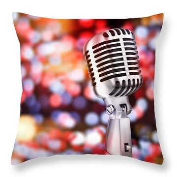 Microphone Throw Pillow by Setsiri Silapasuwanchai