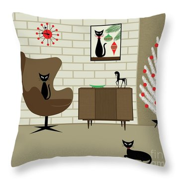 Mid-century Christmas Throw Pillow