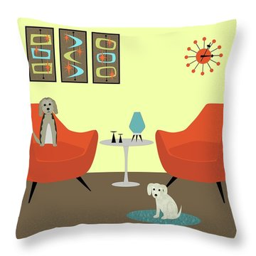 Mid Century Modern Dogs 1 Throw Pillow