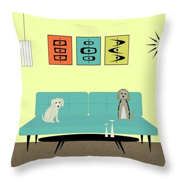 Mid Century Modern Dogs 2 Throw Pillow