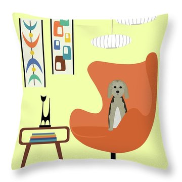 Mid Century Modern Dogs 3 Throw Pillow