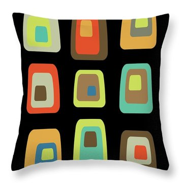 Mid Century Modern Oblongs On Black Throw Pillow