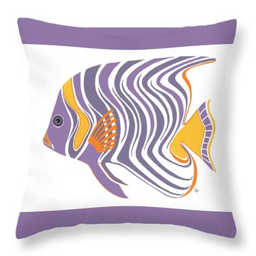 Mid Century Purple Fish Throw Pillow