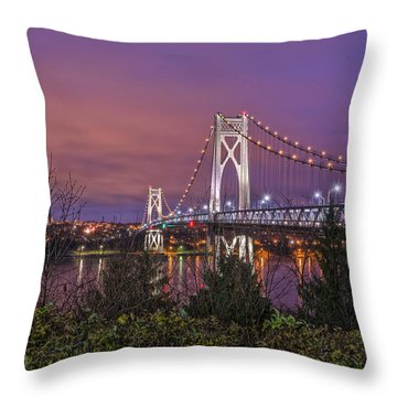 Mid Hudson Bridge At Twilight Throw Pillow