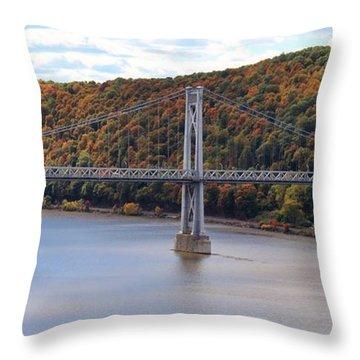 Mid Hudson Bridge In Autumn Throw Pillow